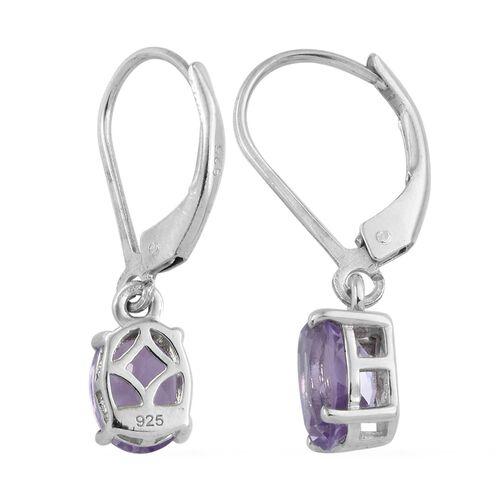 AA Rose De France Amethyst (Ovl) Lever Back Earrings in Platinum Overlay Sterling Silver 2.00 Ct.