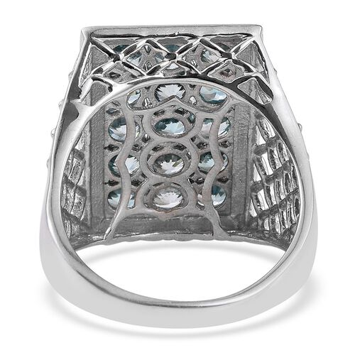 Ratanakiri Blue Zircon (Rnd) Ring in Platinum Overlay Sterling Silver 5.250 Ct.