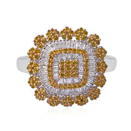 Yellow Diamond (Rnd), Diamond Ring (Size R) in Platinum and Yellow Gold Overlay Sterling Silver 1.00 Ct.