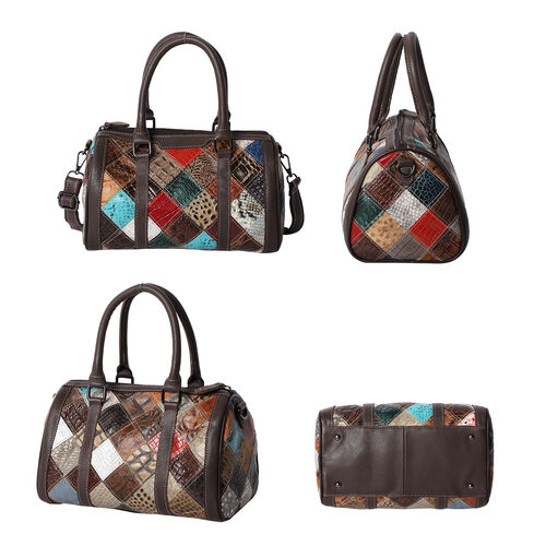 100% Genuine Leather Diamond Pattern Bowling Bag with Detachable Shoulder Strap (Size 28x16x16 Cm- Multi Colour