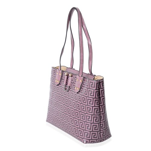 TW11 COLLECTION Purple Colour Greek Key Embossed Large Tote Bag (Size 35x27.5x13.5 Cm)