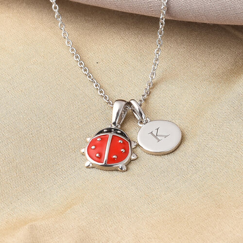 Personalise Engravable Initial Necklace with Ladybug Charm with 20Inch Chain