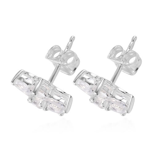 Petalite Floral Stud Earrings (with Push Back) in Sterling Silver 2.20 Ct.