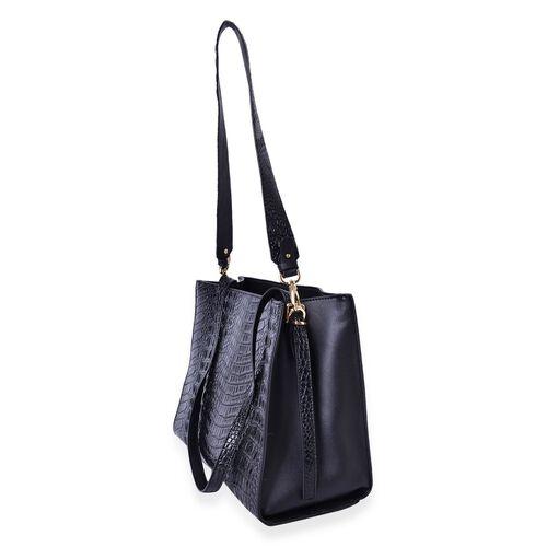 Designer Inspired-Black Colour Croc Embossed Tote Bag with Removable Shoulder Strap (Size 35.5X24.5X14 Cm)