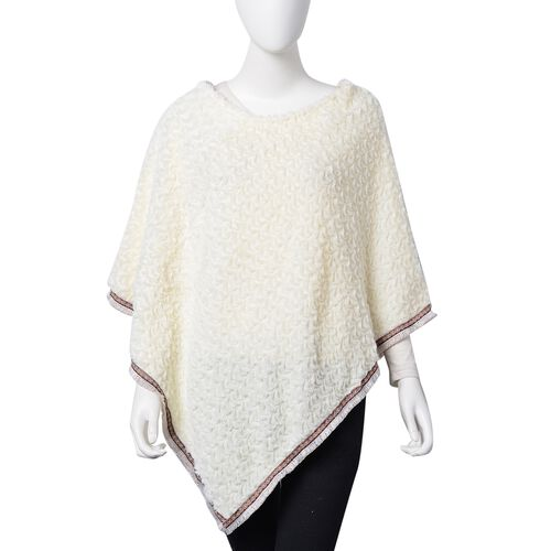 Off White Colour Faux Fur Poncho with Multi Colour Lace Border (Size 94X80 Cm)
