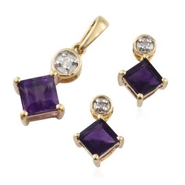 9K Yellow Gold AA Amethyst (Sqr), Diamond Pendant and Earrings (with Push Back) 2.400 Ct.