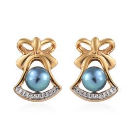 Fresh Water Peacock Pearl (Rnd) Stud Earrings in 14K Gold Overlay Sterling Silver