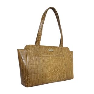 ASSOTS LONDON Judith Genuine Croc Leather Fully Lined Shoulder Bag (Size 32x7x23cm) - Black