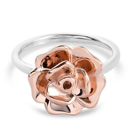 Rose Gold and Platinum Overlay Sterling Silver Rose Ring