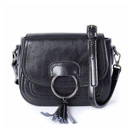 100% Genuine Leather Black Colour Crossbody Bag with Removable Shoulder Strap (Size 20x16x7 Cm)