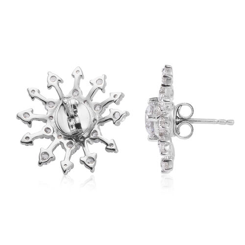 J Francis - Platinum Overlay Sterling Silver Stud Earrings (with Push Back) Made with SWAROVSKI ZIRCONIA 6.80 Ct.