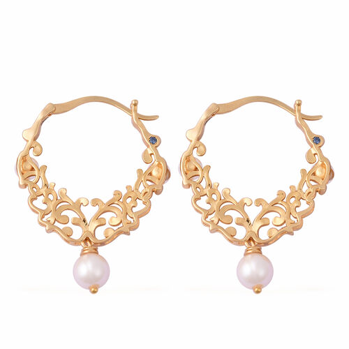 GP - Freshwater Pearl and Blue Sapphire Filigree Hoop Earrings (with Clasp Lock) in Yellow Gold Overlay Sterling Silver, Silver wt 8.43 Gms