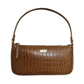 Assots London ZARA 100% Genuine Leather Croc Embossed Handbag - Mustard