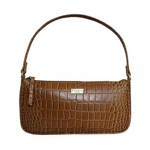 Assots London ZARA 100% Genuine Leather Croc Embossed Handbag - Mustard