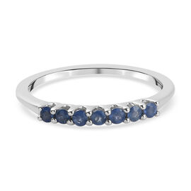 Blue Sapphire Half Eternity Ring in Platinum Overlay Sterling Silver