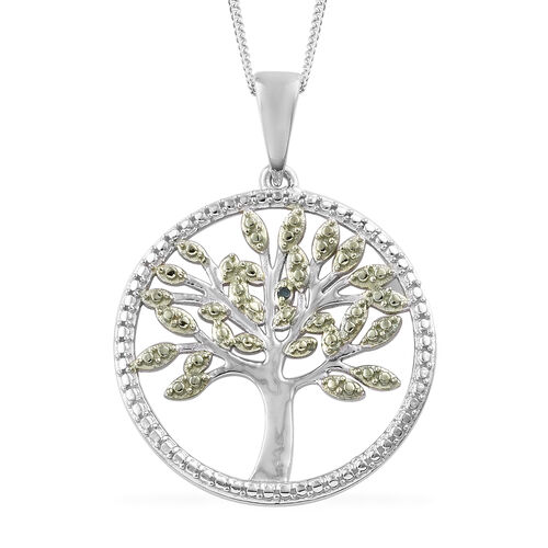 Green Diamond (Rnd) Tree of Life Pendant with Chain (Size 18) in Platinum Overlay with Green Plating Sterling Silver