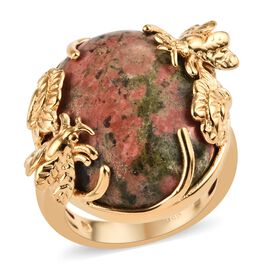 Unakite (Ovl 22x18 mm) Ring (Size O) in 18K Yellow Gold Plated 22.25 Ct.