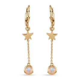 Rainbow Moonstone Dangling Lever Back Earrings in 14K Gold Overlay Sterling Silver 1.210 Ct.