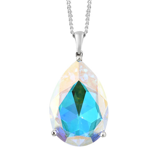 Crystal from Swarovski - Swarovski Aurora Borealies Crystal (Pear 30x20mm) Pendant With Chain (Size 30) in Platinum Overlay Sterling Silver 26.000 Ct.