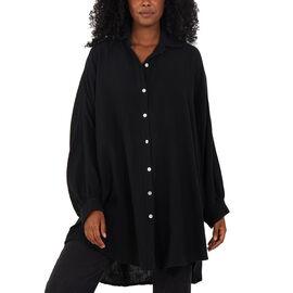 Nova of London Women Oversized Cheese Cloth Shirt - Black