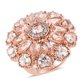 Designer Inspired - Moroppino Morganite (Pear), White Topaz Cluster Ring in Vermeil Rose Gold Overlay Sterling Silver 11.750 Ct, Silver wt 10.70 Gms