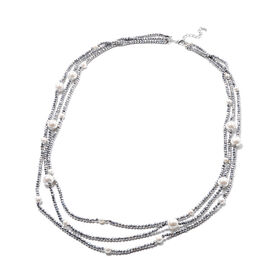 White Shell Pearl and Simulated Grey Agate 3-Row Necklace (Size 32 with 3 inch Extender) in Silver T