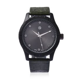 STRADA Japanese Movement Water Resistance Sporty Watch in Black Plating - Army Green