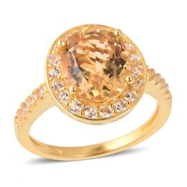 4.89 Ct Citrine and Natural White Cambodian Zircon Halo Ring in Gold Plated Silver
