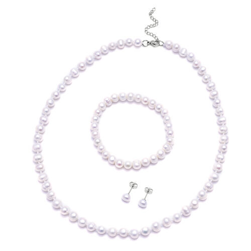 3 Piece Set -  Freshwater White Pearl Bracelet (Size 7), Stud Earrings (with Push Back) and Necklace