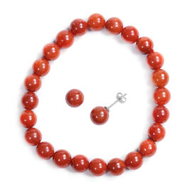 2 Piece Set -  Red Jade Stretchable Bracelet (Size 7.5) and Stud Earrings (with Push Back) in Sterli