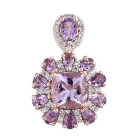 Rose De France Amethyst (Cush 4.00 Ct), Natural Cambodian Zircon Pendant in Rose Gold Overlay Sterling Silver 7.250 Ct. Silver wt 5.50 Gms.