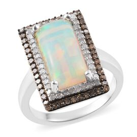 AAA Ethiopian Welo Opal (Bgt 14x7mm), Natural Champagne and White Diamond Ring in Platinum Overlay S