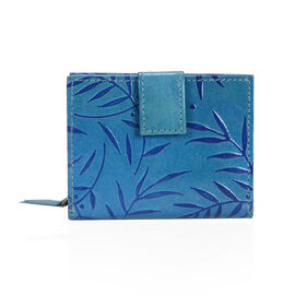 100% Genuine Leather Blue Colour Hand Printed  Leaves Pattern Wallet With RFID Blocker (Size 12x2.5x10.5 Cm)