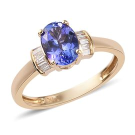 1.10 Ct AA Tanzanite and Diamond Solitaire Ring in 14K Yellow Gold I3 GH
