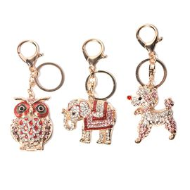 Set of 3 - Multicolour Austrian Crystal Owl, Elephant and Poodle Enamelled Keychain in Gold Tone