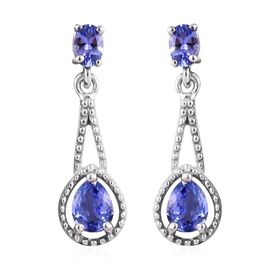 Tanzanite (Pear and Ovl) Earrings (with Push Back) in Platinum Overlay Sterling Silver 1.00 Ct.