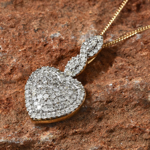 Diamond (Rnd) Heart Pendant With Chain in 14K Gold Overlay Sterling Silver, Number Of Diamond 110
