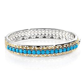 Arizona Sleeping Beauty Turquoise (Rnd) Bangle (Size 7.5) in Platinum and Yellow Gold Overlay Sterli