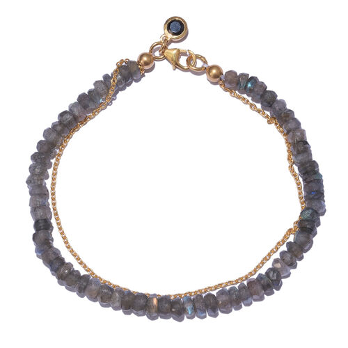 Labradorite (Rnd), Boi Ploi Black Spinel Bracelet (Size 7.5) with Circle Charm in Yellow Gold Overlay Sterling Silver 25.840 Ct.
