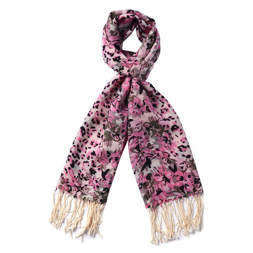 100% Merino Wool Flower and Leopard Print Scarf - Pink