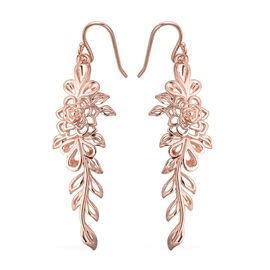 LucyQ Leaf Dangle Earrings in Rose Gold Plated Silver 6.21 Grams