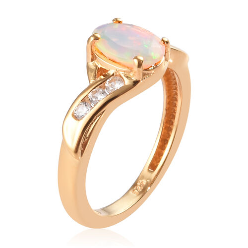 Ethiopian Welo Opal and Natural Cambodian Zircon Bypass Ring in 14K Gold Overlay Sterling Silver 0.93 Ct.