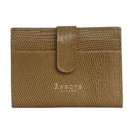 Assots London Grove Lizard Skin Texture 100% Genuine Leather RFID Cardholder (Size 8x10cm) - Mustard