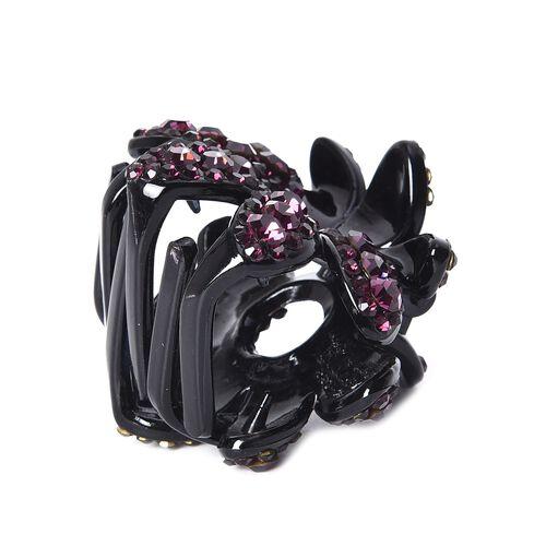 Crystal Studded Small Hair Claw Clip - Dark Purple