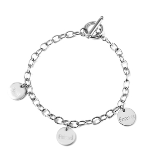 Personalised Engravable 3 Disc Charm Bracelet, in Stainless Steel 8.5inches