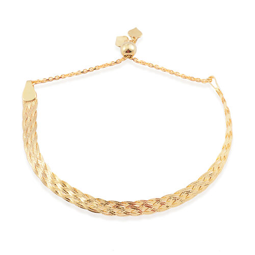 JCK Vegas Collection 14K Gold Overlay Sterling Silver Adjustable Braided Herringbone Bolo Bracelet (Size 6.5 to 7.5), Silver wt. 4.00 Gms.