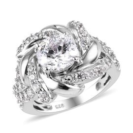 J Francis Made with SWAROVSKI ZIRCONIA Contemporary Ring in Platinum Plated Silver 6.98 Grams