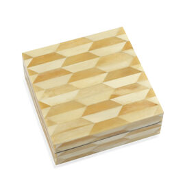 Metal Grid Pattern Handmade Bone and MDF Storage Box with Inside Velvet Lining (Size 15.5x15.5x6 Cm)