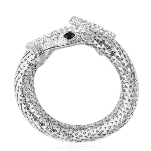 White Austrian Crystal and Simulated Black Spinel Snake Bracelet (Size 7.5) in Silver Plated
