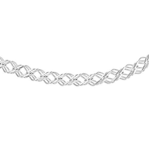 JCK Vegas Collection Sterling Silver Triple Curb Necklace (Size 18), Silver wt 14.17 Gms.
